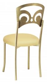 Gold Fleur de Lis with Buttercream Stretch Knit Cushion