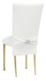 White Patent Chair Cover and Rhinestone Belt with White Stretch Knit Cushion on Gold Legs