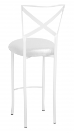 Simply X White Barstool with Metallic White Foil Stretch Knit Cushion