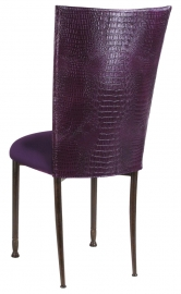 Purple Croc Chair Cover with Eggplant Velvet Cushion on Mahogany Legs
