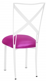 Simply X White with Metallic Fuchsia Knit Cushion