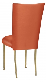 Orange Taffeta Chair Cover with Boxed Cushion on Gold Legs
