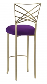 Gold Fanfare Barstool with Plum Knit Cushion