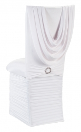 White Cowl Neck Chair Cover with Jewel Band, Cushion and Skirt