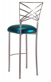 Silver Fanfare Barstool with Metallic Teal Cushion
