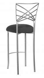 Silver Fanfare Barstool with Charcoal Linette Boxed Cushion