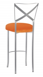 Simply X Barstool with Orange Velvet Cushion