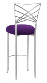 Silver Fanfare Barstool with Plum Stretch Knit Cushion