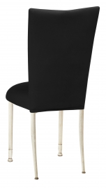 Black Velvet Chair Cover and Cushion on Ivory Legs