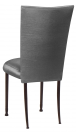Charcoal Taffeta Chair Cover and Boxed Cushion on Mahogany Legs