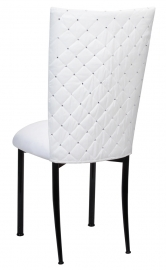White Diamond Tufted Taffeta Chair Cover with White Suede Cushion on Black Legs
