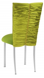 Green Shantung with Gold Rhinestone Accent and Lime Green Cushion on Silver Legs
