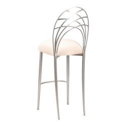 Silver Piazza Barstool with Buttercream Stretch Knit Cushion