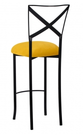 Blak. Barstool with Canary Suede Cushion