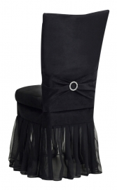 Black Suede Chair Cover with Jewel Belt, Cushion and Black Organza Skirt