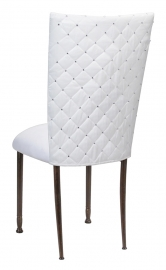 White Diamond Tufted Taffeta Chair Cover with White Suede Cushion on Mahogany Legs