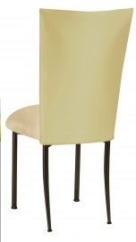 Light Pear Dupioni Chair Cover with Champagne Metallic Knit Cushion on Brown Legs