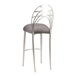 Silver Piazza Barstool with Charcoal Suede Cushion