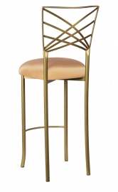 Gold Fanfare Barstool with Toffee Stretch Knit Cushion