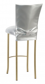 Silver Patent Barstool 3/4 Chair Cover with Rhinestone Accent Belt and Metallic Silver Stretch Knit Cushion on Gold Legs