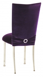Deep Purple Velvet Chair Cover with Jewel Band and Cushion on Ivory Legs