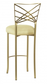Gold Fanfare Barstool with Lemon Ice Taffeta Boxed Cushion