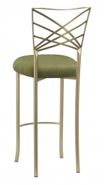 Gold Fanfare Barstool with Olive Velvet Cushion
