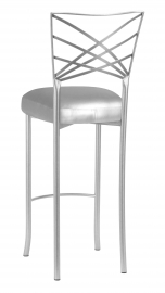 Silver Fanfare Barstool with Silver Leatherette Boxed Cushion