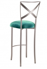Simply X Barstool with Turquoise Velvet Cushion