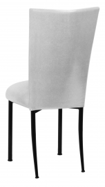 Metallic Silver Stretch Knit Chair Cover and Cushion on Black Legs