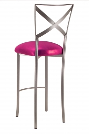 Simply X Barstool with Metallic Fuchsia Cushion