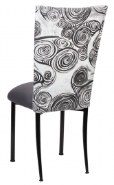 White Swirl Velvet Chair Cover with Charcoal Suede Cushion on Black Legs