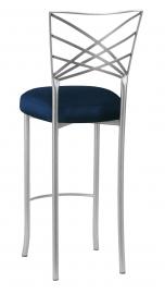 Silver Fanfare Barstool with Midnight Blue Taffeta Boxed Cushion