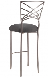 Silver Fanfare Barstool with Charcoal Suede Cushion