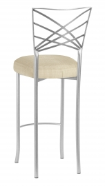 Silver Fanfare Barstool with Parchment Linette Cushion