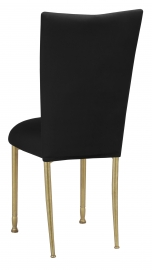Black Velvet Chair Cover and Cushion on Gold Legs