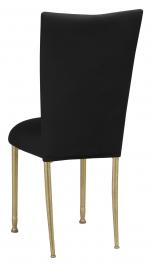 Black Velvet Chair Cover and Cushion on Gold Legs