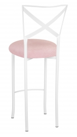 Simply X White Barstool with Soft Pink Sparkle Velvet Cushion