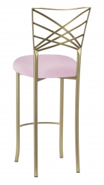 Gold Fanfare Barstool with Soft Pink Velvet Cushion