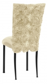 Ivory Rosette Chair Cover with Ivory Stretch Knit Cushion on Black Legs