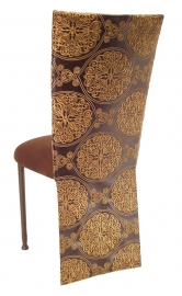 Brown and Gold Crest Chair Cover with Chocolate Suede Cushion on Brown Legs