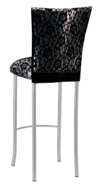 Black Camisole Lace over Metallic Silver Stretch Knit Barstool Cover and Cushion on Silver Legs