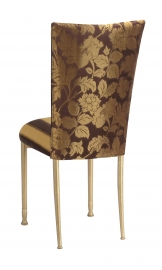 Gold and Brown Damask Chair Cover with Gold and Brown Stripe Cushion with Gold Legs