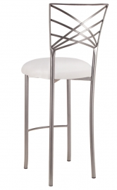 Silver Fanfare Barstool with White Stretch Knit Cushion