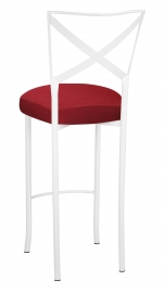 Simply X White Barstool with Rhino Red Suede Boxed Cushion