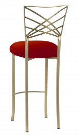 Gold Fanfare Barstool with Red Velvet Cushion