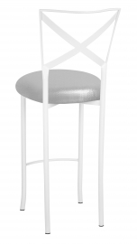 Simply X White Barstool with Metallic Silver Stretch Knit Cushion