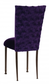 Aubergine Circle Ribbon Taffeta Chair Cover with Eggplant Velvet Cushion on Mahogany Legs