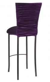 Chloe Eggplant Velvet Barstool Cover and Cushion on Brown Legs
