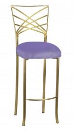 Gold Fanfare Barstool with Lavender Velvet Cushion